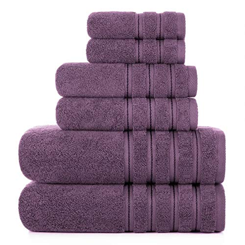 2021 Nueva toalla de baño turco de lujo Set 6 piezas toallas mullidas baño juegos cero giro 2 toallas de baño, 2 toallas de mano 2 paños de baño ciruelo