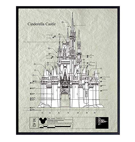 Disney Castle Patent Art Print - Vintage Wall Art Poster - Chic Home Decor for Child Childrens, Baby, Nursery and Kids Room - Great Gift for Girls, Mickey Mouse Fans - 8x10 Photo - Unframed - Cream