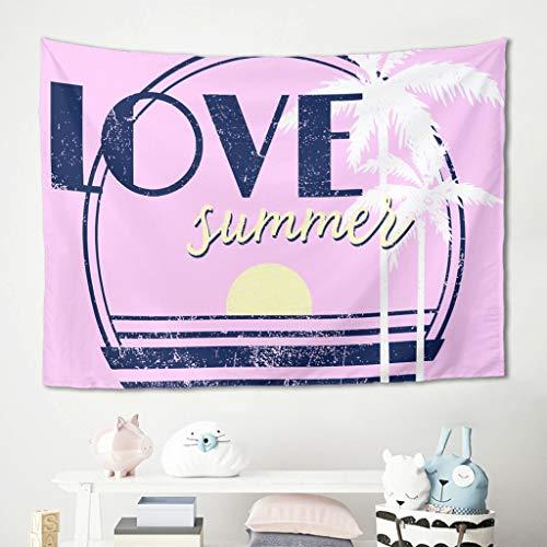 Niersensea Tapiz de pared para colgar en la pared, diseño de palmera, color rosa, para picnic, yoga, meditación, dormitorio, arte de pared, blanco, 150 x 150 cm