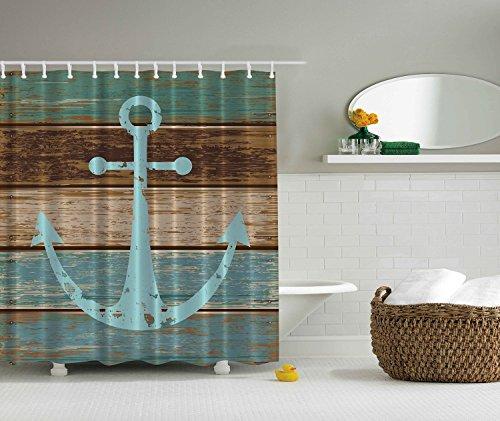 BBFhome Seeanker Rustikales Holz - Duschvorhang - Wasser, Seife & schimmelbeständig - Maschinenwäsche - Dusche Haken sind im Preis inbegriffen 180X180 CM
