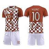 Equipación de fútbol para niños, 10 # Modric Croacia, ropa técnica profesional, camiseta de atletas, traje, adolescente, ropa de deporte, malla, secado rápido, manga corta