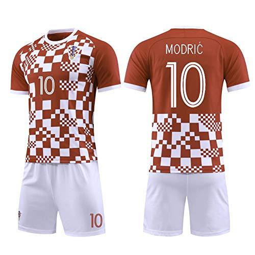 Kinder Fußball Trikot Set-10# Modric Kroatien Professionelle technische Kleidung Athleten Trikot Fans Anzug Teenager Sportswear Mesh Schnelltrocknende Kurzarm Fans Sweatshirt-S(165.170CM)