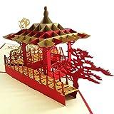 Hilai Pavilion Muster 3D-Karte China-Art-Pop-Up-Segen-Karte handgemachte China Kirigami Geschenk Retro Suzhou Garten-Karten-Rot