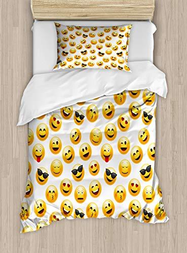 ABAKUHAUS Emoticon Funda Nórdica, Caras sonrientes Sentimientos Arte, 2 Piezas con 1 Funda de Almohada, 130 cm x 200 cm, Amarillo Rojo Negro