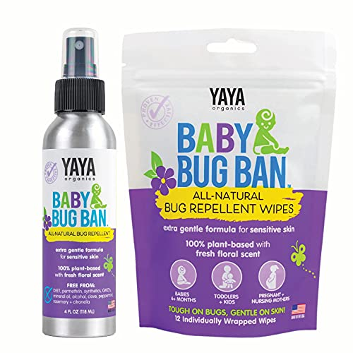 YAYA ORGANICS Baby Bug Ban Spray + Wipe Bundle - All-Natural Repellent Made with Essential Oils for Babies, Little Kids and Sensitive Skin (4 Ounce Spray + 12-Pack Wipe)
