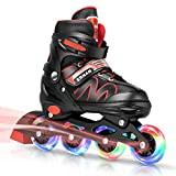 ERNAN Inline Skates,Adjustable Inline Skates for Kids and Adults with Full Light Up Wheels for Indoor Outdoor Backyard Skating(Red)