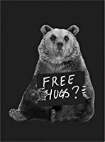 【ノーブランド品】【寂しがりやなクマ。「無料でハグしますよ」】 黒キャンバス A2サイズ