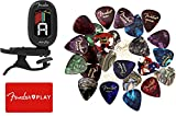 Fender Auto Clip Chromatic Tuner for Acoustic Guitar, Electric Guitar, Bass, Mandolin, Violin, Ukulele, and Banjo Bundle with 24pk Fender Guitar Picks and Fender Play
