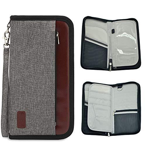 Reiseorganizer mit RFID-Schutz Reisepasshülle mit Reißverschluss Reisepass Tasche Reisedokumententasche mit Handschlaufe Reisegeldbeutel viele Fächer für Damen und Herren (Grau-2)