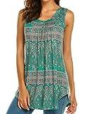 Halife Women's Paisley Printed Pleated Sleeveless Blouse Shirt Casual Flare Tunic Tank Top (XXL, Dark Green)