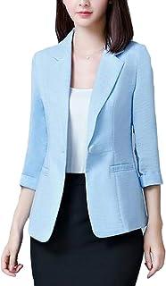 Womens Coat Slim Oversize One Button Office Work 3/4 Sleeve Blazer