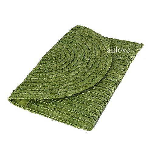 Straw Clutch Summer Evening Handbag Beach Purse Woven Straw Bag Envelope Clutch Purse for Women (((1pc) clutch2-3)