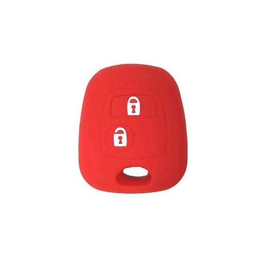 Coque de Silicone Cover clé pour télécommande Citroën C1 C2 C3 C5 et Peugeot 103 106 107 206 207 307 308 406 407 508 806 1007-2 Boutons (Rouge)