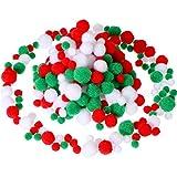 300 Pezzi Assortiti Pom PON Birichino Pom Palle Piccole Craft Pompon per DIY e Decorazioni, 3 Dimensioni (Set di Colori di Natale)