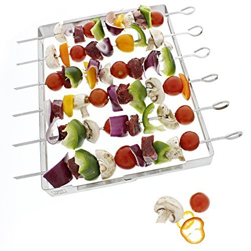 Yukon Glory BBQ Skewer Rack for Grilling Shish Kebob and skewers, Durable Foldable Stainless Steel with 6 Skewers