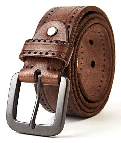 3ZHIYI Cintura Uomo 100% Vera Pelle di bufalo