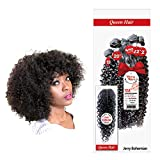 """Queen Hair 12A+ Water Wave Hair Jerry Bohemian Curl Brazilian Virgin Remy 100% Unprocessed Human Hair Extensions Weft Weave 6 Bundles + Free Closure - Sew In or Glue In(Natural,12""""14""""16)"""
