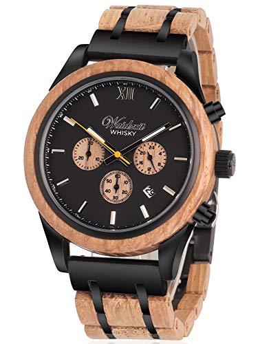 Waidzeit WH01 Whisky Uhr Herrenuhr Holz Holz 0 bar Analog Datum braun