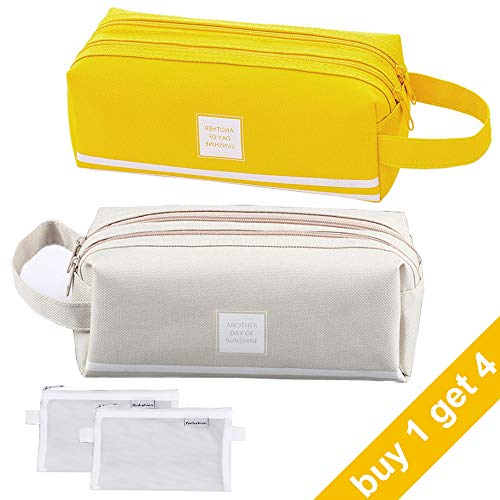 Big Pencil Case with Organized Compartments, Zipper Pencil Pouch with Handle, Large Pencil Bag Yellow & Gray for Adults, Teen Girls, School Boy
