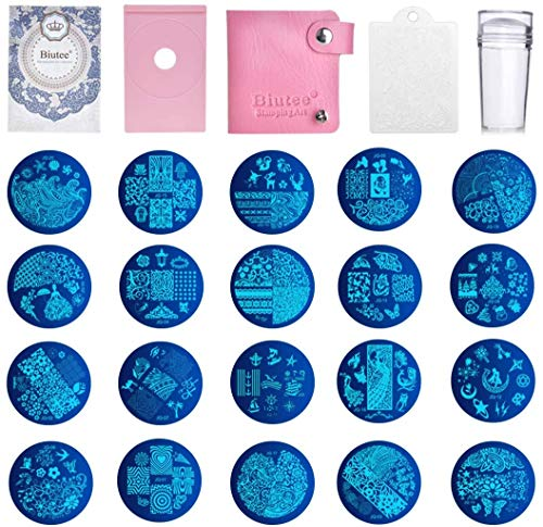 Biutee Nail Stamping Plates Set 20 Nail Plates 1clear stamper 1scraper 1storage bag 1Plate Holder Flower Animal Pattern Nail plate Template Image Plate Stencil Nails Tool