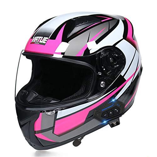 DINDO Full Face Bluetooth Motorcycle Helmets for Men Women, DOT Approved Street Bike Racing Helmet, Cool Urban Snowmobile Helmet with Microphone Headset Speaker,Pink White,L