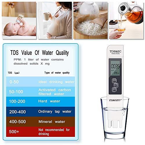 PH Mètre, Testeur ph ec Piscine PH TDS&EC température 4 en 1 Set Plage de pour l'eau Potable, Aquariums, piscines