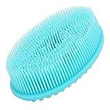 Brosse de douche de bébé, brosse de bain pour cheveux doux, motifs pratiques à double face en silicone souple pour massage du corps du cuir chevelu adulte(blue)