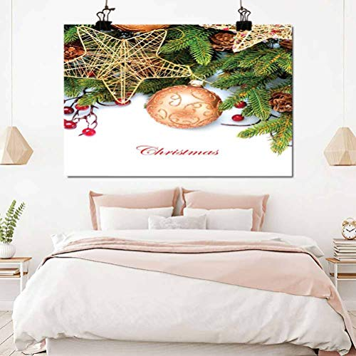 ScottDecor Christmas Photograph Print Holly Berries Tree Topper Baubles Vintage Seasonal Ornaments Pine Image 32x16 inch Wall Decorations for Girls Bedroom