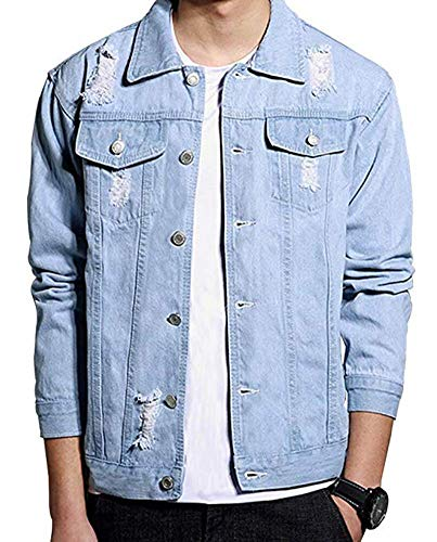 LifeHe Men's Distressed Ripped Denim Jacket Button Down Trucker Jean Coat (Light Blue, M)