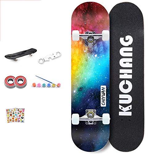 YSCYLY Skateboard Vintage,80 * 20cm professionelles Skateboard,FüR Erwachsene Kinder Jungen MäDchen