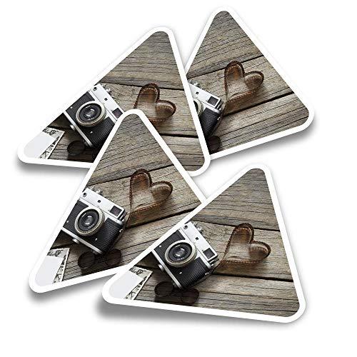 Pegatinas triangulares de vinilo (juego de 4) – Love Photography Retro Camera Film Fun Calcomanías para portátiles, tabletas, equipajes, reservas, neveras #16097