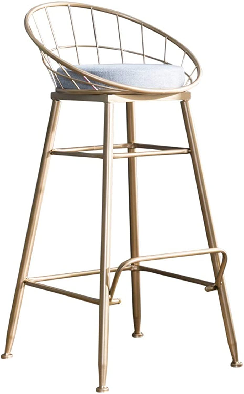 Barstools Chair High Stool Bar Stool Breakfast Chair and Cushion Seat Back Comfort Kitchen Breakfast Counter Greenhouse gold (Multiple Sizes) (Size   48x48x85cm)
