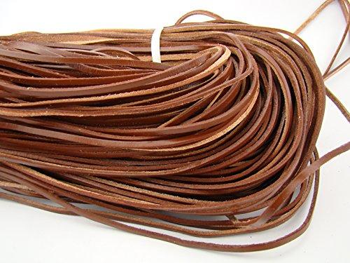 esnado Correa de piel plana rectangular de 3 mm x 2 mm. Color marrón. Longitud de 5 m.