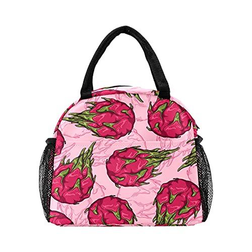 Bolsa de almuerzo con patrón de frutas de dragón rojo para mujer, bolsa de almuerzo reutilizable con aislamiento personalizado para el trabajo Picnic