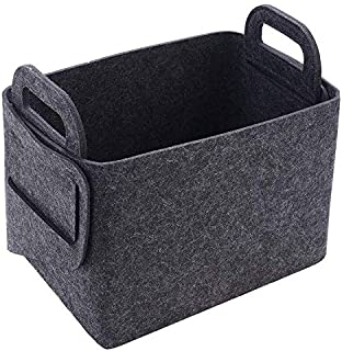ArtTao Felt Storage Basket Collapsible & Space-Saving Storage Box Perfect for Bedroom, Kids Room, Bookshelf, Office, Closet (13.78x9.84x9.06inch) Black