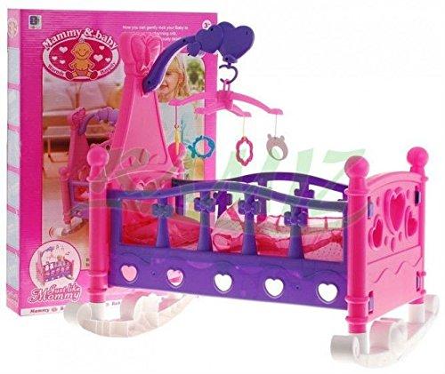 Puppenwiege 661-03 mit Bettwäsche und Spielmobil - Cradle für Baby Doll - Cradle für Puppen - Puppenbett mit Bettwäsche - Puppenmöbel