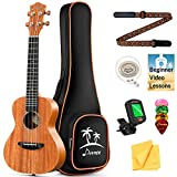 Donner Tenor Ukulele Mahogany Professional 26 inch Ukelele Starter Bundle Kit with Free Online Lesson Gig Bag Strap Nylon String Tuner Picks Cloth DUT-1 Ukele Ukalalee Set