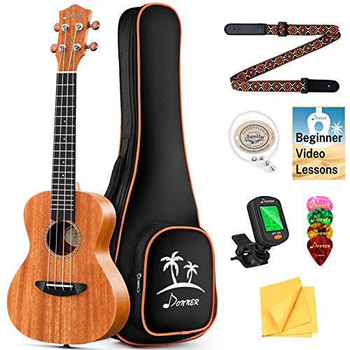 Donner Concert Ukulele Mahogany 23 Inch Ukelele Starter Bundle Kit with Free Online Lesson Gig Bag Strap Nylon String Tuner Picks Cloth DUC-1 Professional Ukele Ukalalee