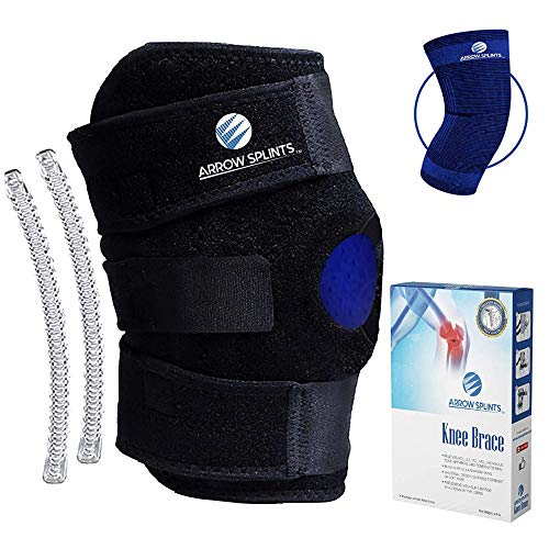 Arrow Splints Knee Brace for Women & Men + Knee Compression Sleeve Open Patella Dual Stabilizers for Lateral Knee Support, Arthritis, ACL, Meniscus, MCL,...