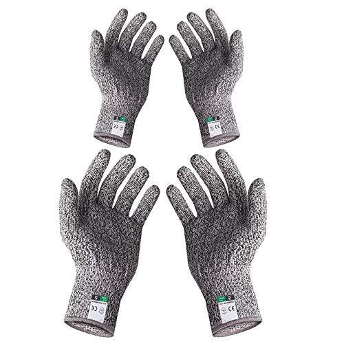 Schnitzhandschuh, 2 Paar Schnittschutz Handschuhe (Größe XXX - 13 cm, M - 22 cm), Extra Starker Level 5 Sicherheitshandschuhe Arbeitshandschuhe, für Kinder Erwachsene für Küche Garten Schneiden Schutz