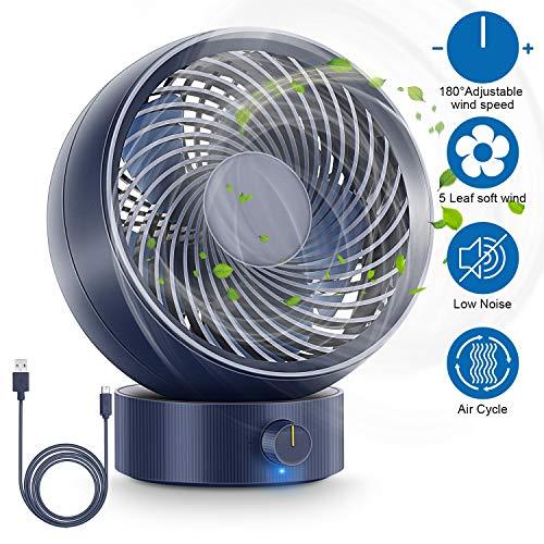 RenFox USB Ventilator, Ultra Leise - Mini Tischventilator Lüfter, Tragbarer leiser Mini Ventilator im Büro, mit gedrehtem Kopf, für Büro, Zuhause und im Freien (Blau)
