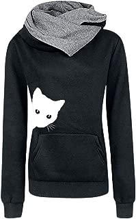 Hoodies Women Cowl Neck Long Sleeve Cat Print Pullover Hoodie Sweatshirts Tops with Kanga Pockets