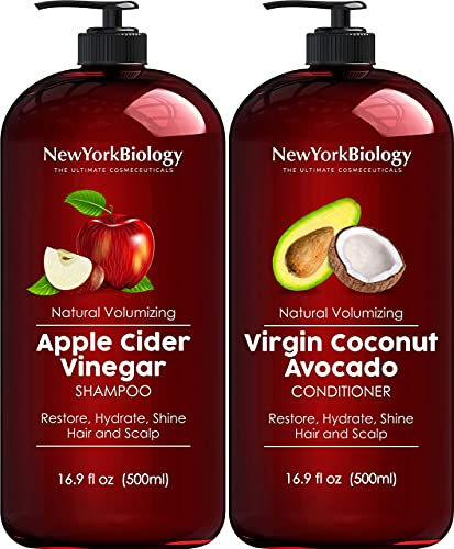 Apple Cider Vinegar Shampoo and Coconut Avocado Oil Conditioner Set - Helps Restore Shine, Hair Gloss and Hydration for Dry Hair and Itchy Scalp – Clarifying and Nourishing – 16.9 fl Oz