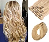 Clip in Hair Extensions Blonde Highlights Real Human Hair Clip in Fine Hair Full Head 7 Pieces 70G Silky Straight Double Weft Remy Hair Extensions Clip on 15 Inch for Women