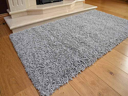 Soft Touch Shaggy Silver Thick Luxurious Soft 5 cm Dense Pile Rug. Available in 7 sizes (80 cm x 150 cm)
