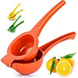 Zulay Premium Quality Metal Lemon Squeezer, Citrus Juicer, Manual Press for Extracting the Most Juice Possible - Orange