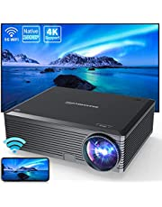 WISELAZER Outdoor Projector 4K,Native1080P Ultra HD 7500L Home Movie Projectors,5G Wireless Portable Projector,Compatible with Tv Boxphone/Pc/Laptop(Black)