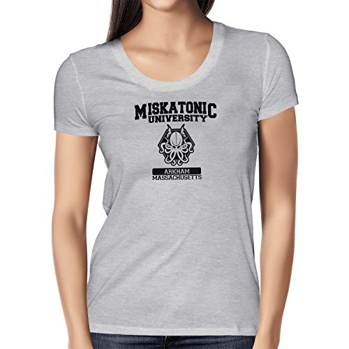 Texlab Damen Miskatonic University T-Shirt, Grau Meliert, L