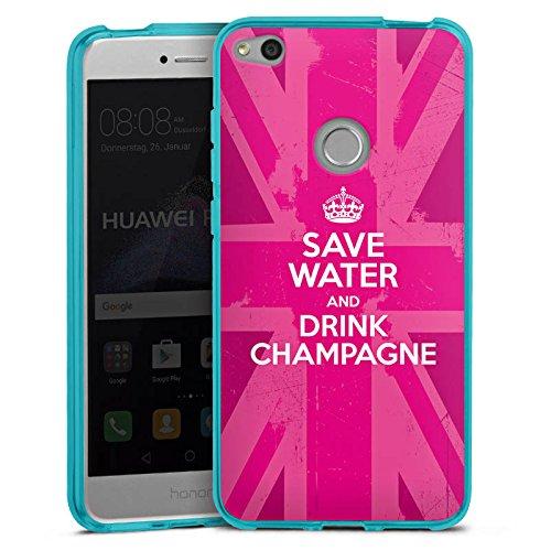 DeinDesign Silikon Hülle transparent hellblau Case Schutzhülle für Huawei P8 Lite 2017 Champagner Krone Crown