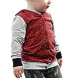 Hirolan Babykleidung Kleinkind Kinder Sweatshirt Baby Junge Kapuzenpullover Mantel Taste Drucken Tops Kleider Baumwolljacke Wintermantel übergangsjacke Wolljacke (Wein, 110)